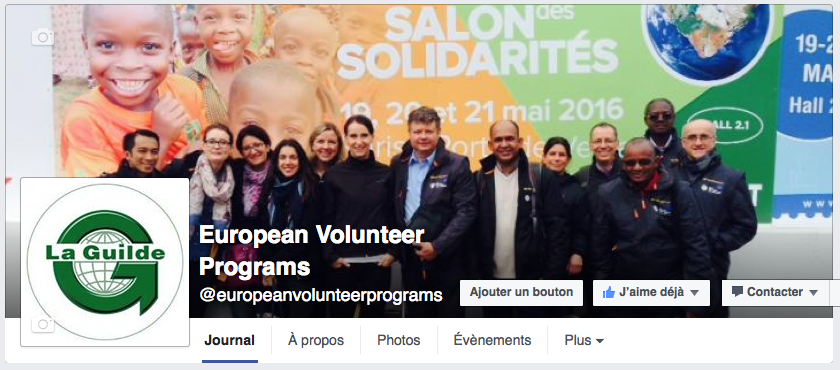 La page Facebook de l'European Volunteer Programs